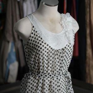 White and Black Polka -Dot Shirt